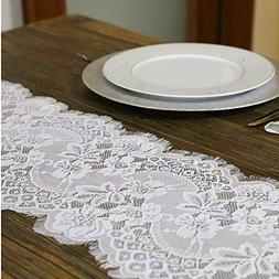 Embroidered and Durable White Lace Table Runner-Feminen 12''