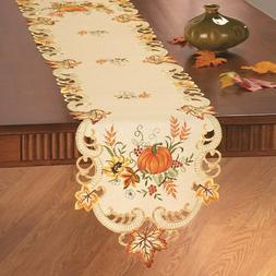 Embroidered Fall Pumpkin Harvest Thanksgiving Polyester Tabl