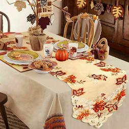Embroidered Fall Table Runner Handmade Maple Leaves Table Co