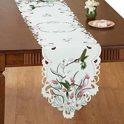 Collections Etc Embroidered Floral Hummingbird Table Linens,