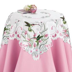 Embroidered Floral Hummingbird Table Linens, by Collections
