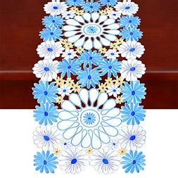 Simhomsen Embroidered Floral Table Runners, Spring Table Dec