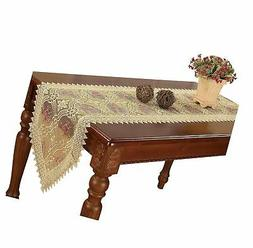 Simhomsen Embroidered Gold Floral Lace Table Runner and scar