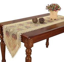Simhomsen Embroidered Gold Floral Lace Table Runner Scarves