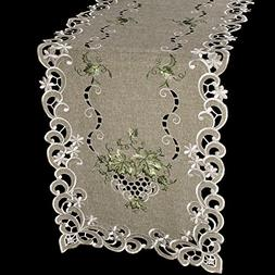 Linens, Art and Things Embroidered Green Leaf on Antique Gre