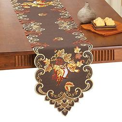 Collections Etc Embroidered Harvest Owls Table Linens, Runne