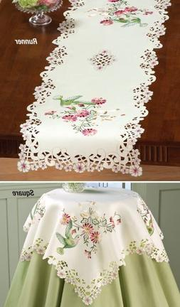 Collections Etc Embroidered Hummingbird Table Linens Runner