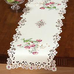 Collections Etc Embroidered Hummingbird Table Linens, Beige,