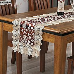 TS Jasmine Embroidered Lace Wine Red Table Runner and Dresse