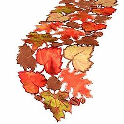 Simhomsen Embroidered Leaves Table Runner for Thanksgiving F