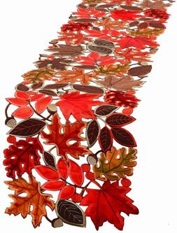 Simhomsen Embroidered Leaves Table Runner for Thanksgiving,