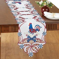 Collections Etc Embroidered Patriotic Rooster Table Linens R