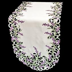 Embroidered Purple Embroidered Lavender Lilac Table Runner 1