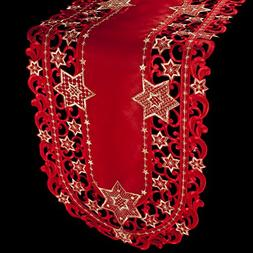 Embroidered Red and Gold Holiday Star of David Christmas Tab