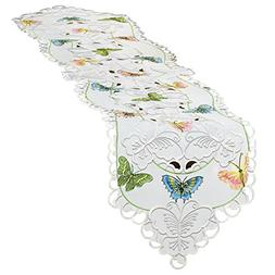 Collections Etc Embroidered Scattered Butterflies Table Line
