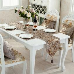 Embroidered Silk Floral Table Runner Set Mat Pillow Cover Ho