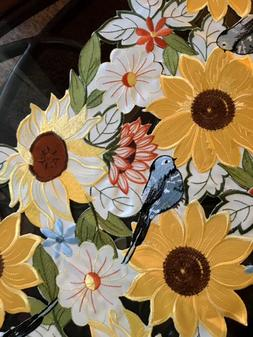 "Embroidered Sunflower Table Runner Centerpiece 36"" Long Colo"