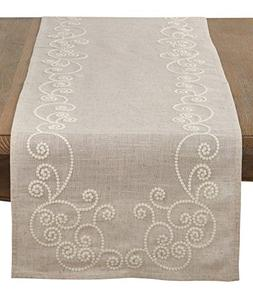 SARO LIFESTYLE Embroidered Swirl Design Linen Blend Table Ru