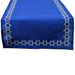 "DII Embroidered Table Runner, 14"" X 70"", Star of David"