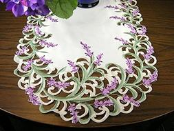 "Embroidered Table Runner Dresser Scarf 43"" Lavender Flowers"