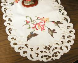 BANBERRY DESIGNS Embroidered Table Runner with Hummingbirds