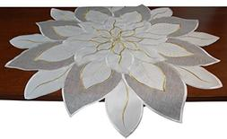 EcoSol Designs Embroidered Table Topper Centerpiece  Poinset
