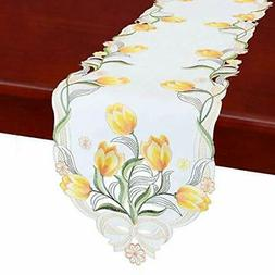 Simhomsen Embroidered Tulip Table Runners, Spring