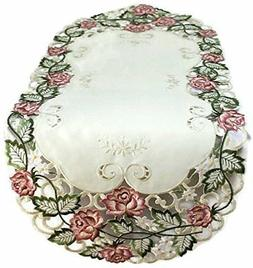 Doily Boutique Table Runner Embroidered with Victorian Pink