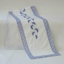Embroidered White & Blue Table Runner with 2 Tea Napkins