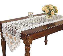 Simhomsen Embroidered White Floral Lace Table Runner 16 × 9