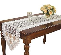 Simhomsen Embroidered white Floral Lace Table Runner 16 By 7