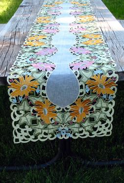 "Embroidery Table Runner Cut Work Lace Summer Flowers  72"" by"