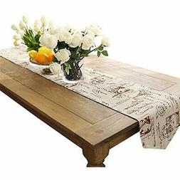 Ethomes Classic Linen &amp Cotton Printed Natural Table Runn