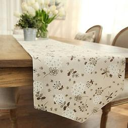 Ethomes Classic Linen & Cotton Printed Natural Table Runner