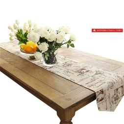Ethomes Classic Linen  Cotton Printed Natural Table Runner A