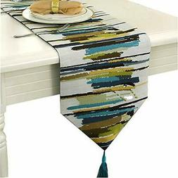 Ethomes gorgeous table runner grey pattern knitted 87x12 inc