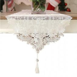 Ethomes White Lace Embroidered Table Runner With Tassel 150c