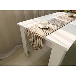 European Geometry Design Table Runner - Coffee Grid Style Li