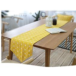 European Geometry Design Table Runner - Yellow Chessboard Li