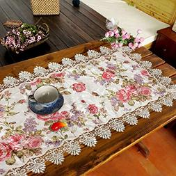 Ustide High-end Fabric Table Runner Peony Floral Tablecloth