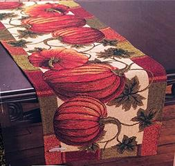 "Fall Harvest Pumpkin Tapestry Table Runner 13"" x 72"" Cotton/"