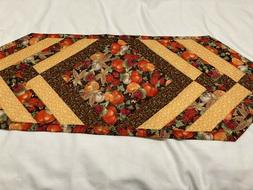 Fall  Pumpkins Quilted Table Runner 13inchesx36 inches