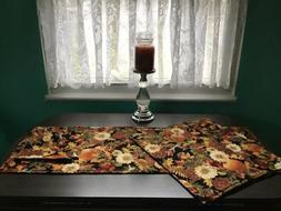 Fall Reversible Handmade 13 1/2 X 39 Table Runner w/ 2 Place