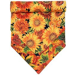 Fall Sunflower and Leaf Print 54 inch Table Runner