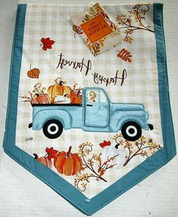 "FALL TABLE RUNNER 13"" X 36"" VINTAGE BLUE TRUCK W/ PUMPKINS /"