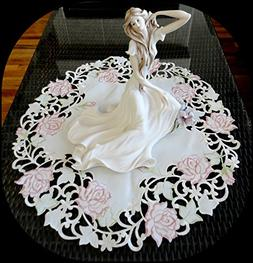 "Fancy Pink Rose 23"" Doily Table Topper Dresser Scarf Cream D"