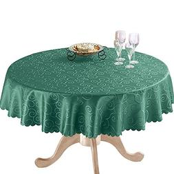 Fancy Scroll Scalloped Edge Festive Tablecloth, Forest Green