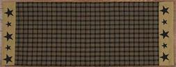 FARMHOUSE EMBROIDERED STAR TABLE RUNNER BLACK TAN PLAID 13""