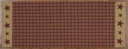 FARMHOUSE EMBROIDERED STAR TABLE RUNNER BURGUNDY TAN PLAID 1