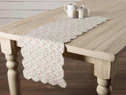"FARMHOUSE FLORAL CAROL QUILTED TABLE RUNNER 36"" L Cottage Ch"